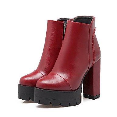 ZJJ À capuche femmes ronde fermée orteil talons bas-Top bottes Red