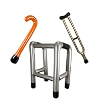 B4E Pack of 3 inflatables - Walking Stick, Walking frame and Crutch