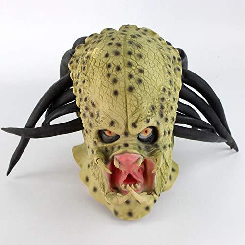 Predator Voll Kostüm - JIAENY Latex Film Alien Predator Cosplay Maske Kostüm Helm Requisiten Antenne Halloween Party Horror Vollgesichtsmaske Spielzeug Halloween.