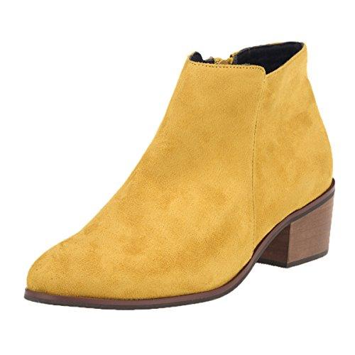 DYF Frauen Schuhe Kurze Stiefel Farbe Größe Scharfe Rauhe Ferse Reißverschluss, Gelb FLA, 41