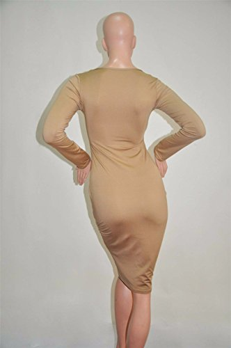 Mode femme paquet bodycon chaud robe bandage mince hanches robes crayon Marron