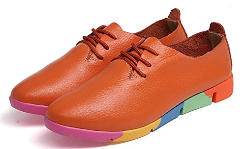 DADAWEN Femme Arc-Ciel Semelle Casual Leather Chaussure Orange