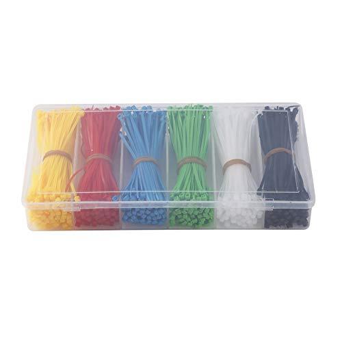 Libertroy Attaches de Câble, Attaches autobloquantes en Nylon de 900 pièces Attaches à glissière en Nylon Noir Blanc Rouge Jaune Bleu Vert 100mm Attaches en Plastique