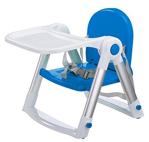 Clamaro \'miniHIGH 2018\' Kinderstuhl Sitzerhöhung mit Tablett und 3-Punkt Gurt, Mini Kinderstiz Hochstuhl mit verstellbaren Gurten zur Befestigung an Stühlen, kompakt zusammenklappbar, Anti-Rutsch Standfüße höhenverstellbar - Farbe: Blau