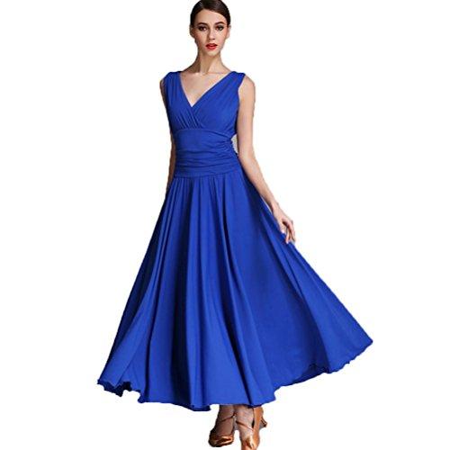 r Tanzrock Kleider üben Für Frauen Ballsaal Tanzkleider Lange Ärmel Walzer Tango Tanzen Performance Kleidung, Blue, XXL (Tanzsport Kostüm Muster)