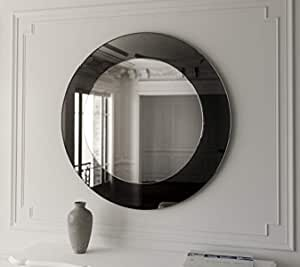 Quality Glass Glass Frameless Round Mirror (24 x 24 inch, Silver Black)