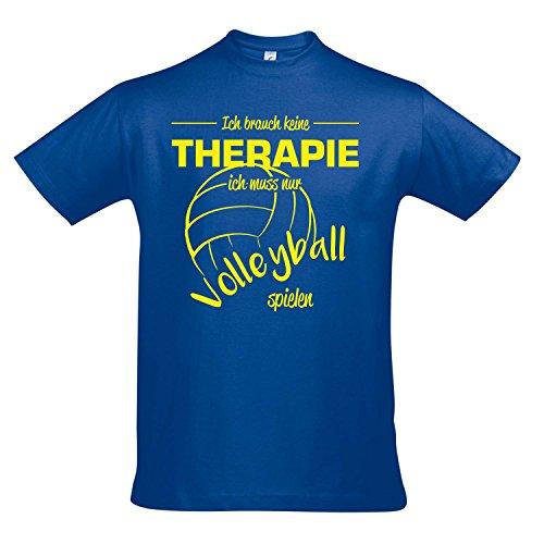 T-Shirt - Therapie - Volleyball - Sport FUN KULT SHIRTS S-XXL , Royal blue - gelb , XL