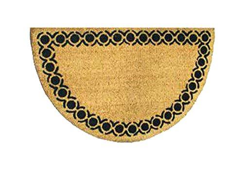 Faba Home Kokos Fußmatte Kokosvelour Matte, halbrund, Schmutzfang, sehr robust, wetterfeste Türmatte, Fußabtreter, Borde mit Kreisen, ca 75 x 45 cm
