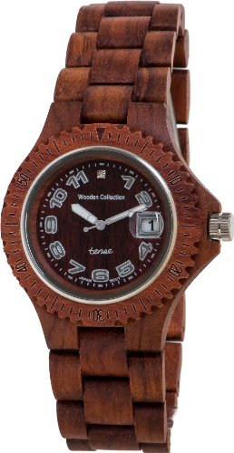 <strong>REDUZIERT:</strong> PREMIUM Holz-Uhr TENSE Mens Compass (made in Canada) - Rosenholz