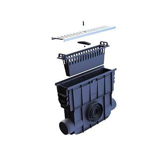 Einlaufkasten für Entwässerungsrinnen mit Schmutzfangkorb, verzinkter Stahlrost Rostsicherung mit Schraube, montiert
