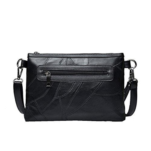 Borse Di Pelle Di Pecora Yy.f Donne Nuove Messenger Bag Moda Semplici Rivetti Spalla Busta Borsa Femminile Nero A