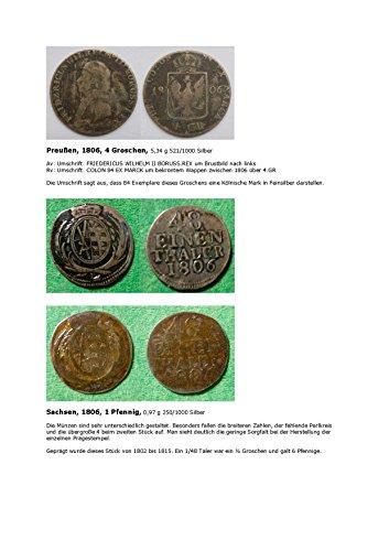 Kalenderblatt zum Jahr 1806: Unterschiedliche Prägestempel eines 1/48 Talers (Vier Groschen Preußens und ½ Groschen Sachsens des Jahres 1806)