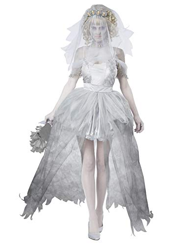 FStory&Winyee Damen Geist Braut Kostüm für Halloween Fasching Horror Zombiebraut Kostüm Grau Geisterbraut Gruselig Dämonen Kostüm Karneval Verkleidung Sexy Cosplay Kleid Set für Erwachsene