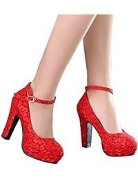 ALUK- Zapatos de novia - zapatos de boda rojo tacones altos con encaje grueso en los zapatos de la boda (con 11 cm de alto) ( Color : Rojo , Tamaño : 38 )