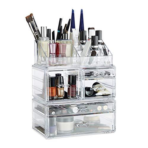Relaxdays Organisateur cosmétiques 3 parties boîte rangement maquillage Make up 21 compartiments acrylique, transparent