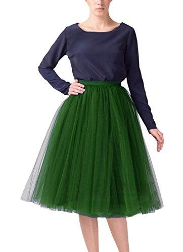 Izanoy Damen 5 Layer Tutu Prinzessin Petticoat Rock Elastic Bund Ballettrock Unterrock Pettiskirt Dunkelgrün