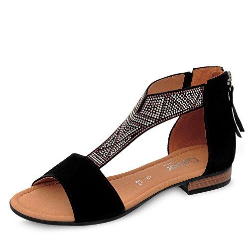 Gabor Comfort 82.763-47 Damen Sandale Veloursleder Reißverschluss Textilfutter, Groesse 8, Schwarz