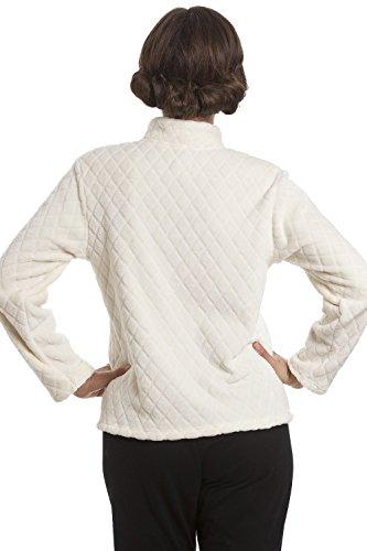 Damen Hausmantel aus weichem Fleece - Reißverschluss - Elfenbein Elfenbein