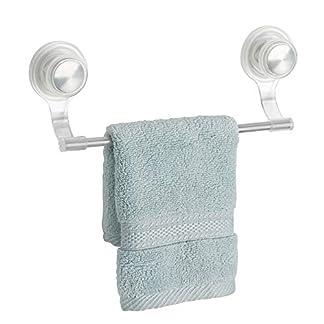 41EEi2Z7y7L. SS324  - mDesign toallero Elegante de Acero Inoxidable y plástico Color Plateado - Toallero Pared Deal para Rollos de Cocina o Toallas - Toallero de Pared con Ventosa Extra Fuerte