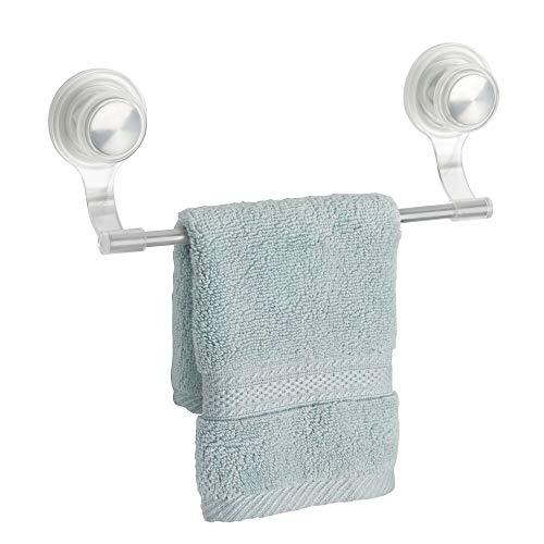 mDesign Handtuchhalter ohne Bohren montierbar - moderner Handtuchhalter - Küche & Haushalt perfekt ergänzt - Geschirrtuchhalter mit praktischem Saugnapf aus gebürstetem Edelstahl - Moderner Kunststoff-stuhl