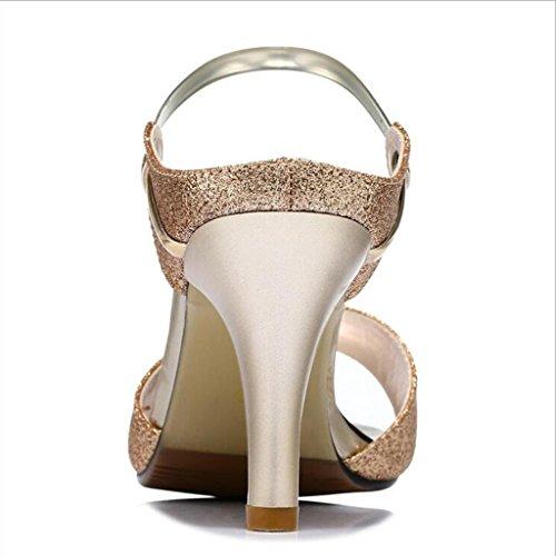 W&LM Signorina Tacco alto sandali Scarpe di bocca di pesce sandali scarpe casual ciabatte infradito Tacchi alti golden