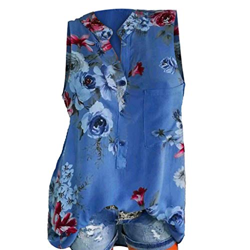 POPLY Frauen Große Größe Top Damen Drucktasche Kurzarmbluse Bohemian Lässige Shirt Plus Size Taste Hemd(Z-Blau-Vest,5XL)