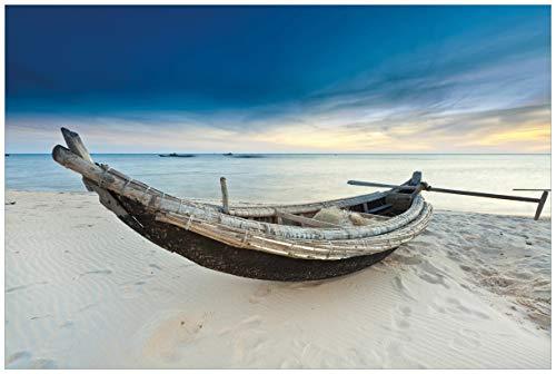 Wallario Acrylglasbild Fischerboot am Strand mit Sonnenuntergang - 60 x 90 cm in Premium-Qualität: Brillante Farben, freischwebende Optik