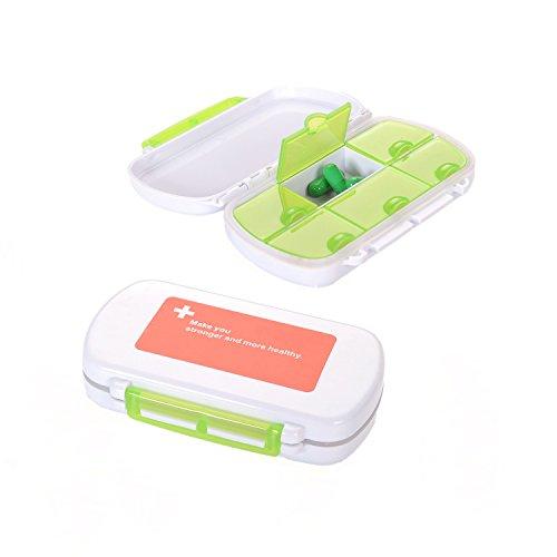 4ucycling Leicht zu tragen Vitamin Tablettenbox (12*8*3)cm Tablettendose feste Klappe 6-Fach und Dichtung Packet von 2 Rezept Kästen Und Behälter