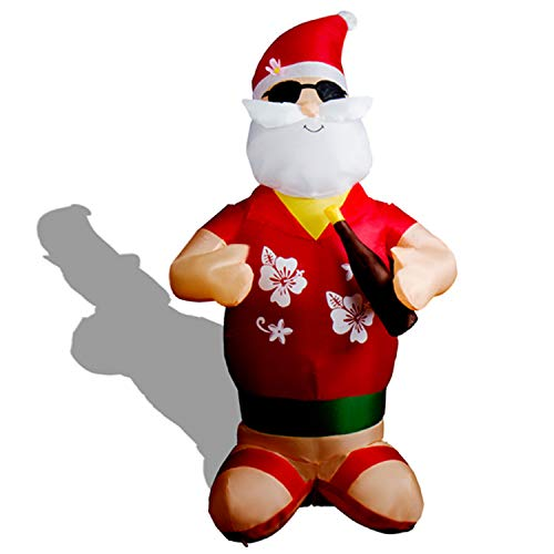 CCLIFE LED Weihnachtsmann Aufblasbar Beleuchtet 120/180/240 cm Wasserdicht, Farbe:Rot009-180cm -