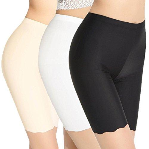 TRISTIN Womens Boxer Briefs Soft Underwear 3-Pack Black/Beige/White Short Panty Silk&Spandex Stretch Boy Shorts