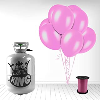 Disposable Helium Gas Cylinder with 30 Crystal Pink Balloons and Curling Ribbon included