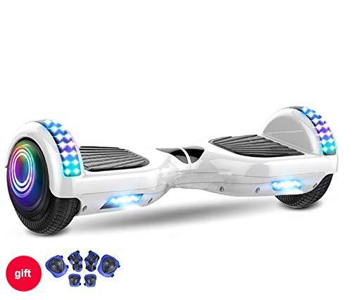 """ZJDU Hoverboard,7\""""Selbstausgleichendes Zweirad-Hoverboard,Mit Bluetooth-Lautsprecher Und LED-Leuchten Elektroroller, Für Kinder Erwachsene,Weiß"""