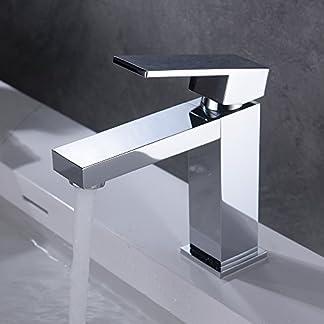 41EEmew7X6L. SS324  - HOMELODY Grifo de Lavabo con Mangueras Agua Fría y Caliente Ajustable Aireador Desmontable Moderno para Cuarto de Baño Cocina