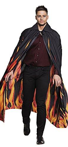 Panelize Teufel-Umhang in Flammen-Feuer Optik schwarzer Umhang Devil Satan Inferno - Feuer Kostüm