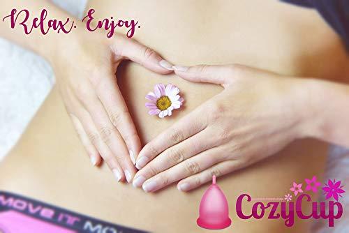 Rosa Menstruationstasse CozyCup CLASSIC - Menstruationskappe klein - aus medizinischem Silikon inkl. Stoffbeutel (Gr 1) - 4