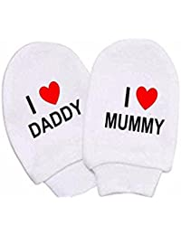 2edc32bb494 Baby Boy Girl I Heart Mummy   Daddy Mitts White Cotton Scratch Mittens  Newborn