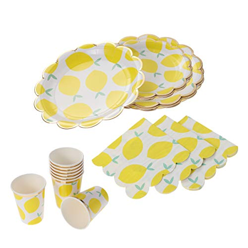 Amosfun Vergoldung Papier Gelb Zitronenmuster Einweggeschirr Geburtstagsfeier Pappteller Strohhalme Gewebe Cups Karneval Party Supplies (Party Supplies Gelbe)