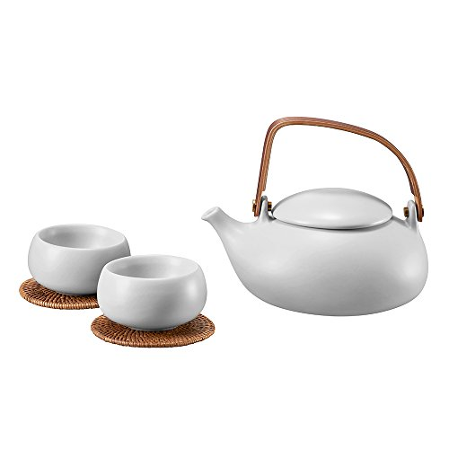 ZENS Teekanne mit Tasse Set Porzellan für Lose Blätter & Flower Teebeuteln Kräutertee