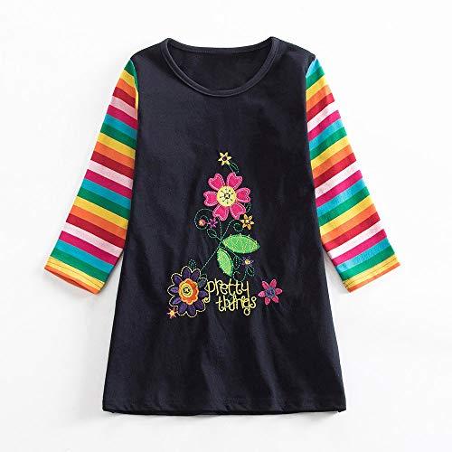 JERFER Mädchen Crewneck Langarm Casual Karikatur Stickerei Party T-Shirt Kleid Kinderkleider Festliche 2-8 T/Jahre (Dunkelblau2, 6T)