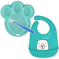 ANBET Plato de silicona para bebés con cuchara blanda y babero Recipiente para alimentos dividido para niños Antideslizante/Sin BPA Lavavajillas/Microondas Seguro Vajilla para bebé Juego de regalo
