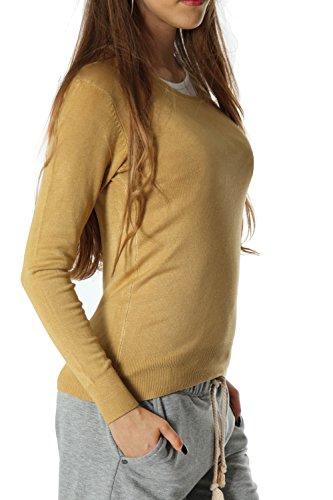 Bestyledberlin pull-over femme, pull en tricot fin t90p Bleu