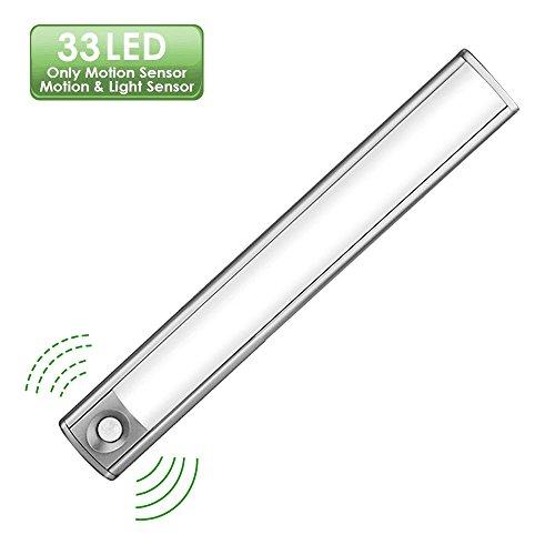 LED Schrankbeleuchtung Lichtsensor, 33 LED 4 Licht Modus Motion Sensor Licht mit Bewegungssensor, Lichtsensor und Kleiderschrank Licht. Mit USB Kabel für Schrank, Treppe, Küche, Stammlampe usw