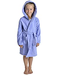 2643b051c2 Aumsaa Girls Children Dressing Gown Hooded Towelling Bathrobe 100% Cotton  Terry Towel Bath Robe Soft