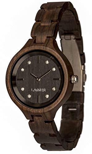 LAiMER orologio in legno MARIA DARK - orologio da polso femminile fatto di legno sandalo con cristalli di Swarovski incastonati