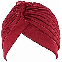 Providethebest Chemo de las mujeres plisado Pre atado cubierta de la cabeza  hacia arriba de punto ee7731b2071