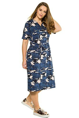 Ulla Popken Femme Grandes tailles Femme Longue Robe de Cocktail Taille Haute Robe De Bohême sans Manches Robe 715166 Multicolore