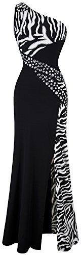 Angel-fashions Damen One-Shoulder-Zebra Gemstones Stitching Abendkleid Small schwarz Zebra Formale Kleider