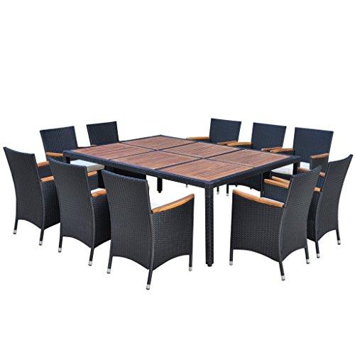 Festnight Poly-Rattan Gartenmöbel-Set Garten Essgruppe Akazienholz-Tischplatte Sitzgruppe mit 1 Gartentisch + 10 Stühle + 10 Sitzkissen für 10 Personen - Schwarz