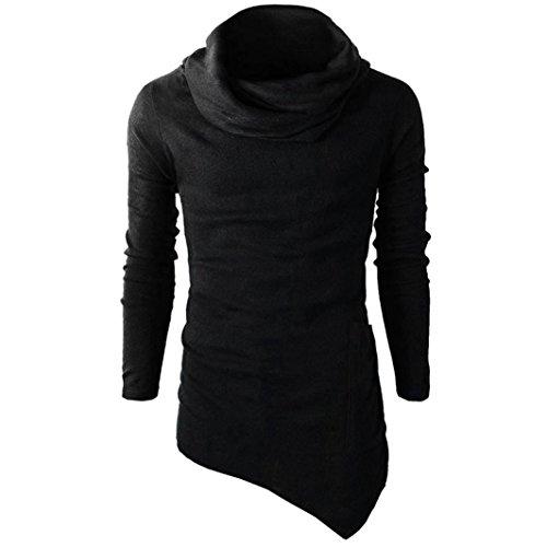 Herren Pullovers, FNKDOR Langarm Asymmetrisch Sweatshirt Laufshirt Hoodie Shirt (48, Schwarz) (Guns N Shorts Roses T-shirt)