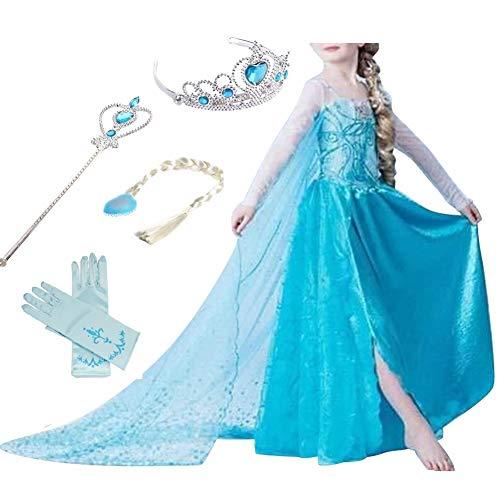 Timesun® Mädchen Prinzessin Schneeflocke Süßer Ausschnitt Kleid Kostüme mit Diadem, Handschuhen, Zauberstab und Zopf, Gr. 98/140 (120 ( Körpergröße 120cm ), #01 kleid mit 4 - Süßes Mädchen Kostüm
